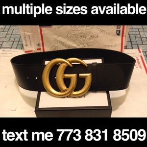 Gucci wide leather gold marmont belt